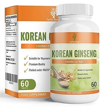 Korean Ginseng - 1000mg - Extracto de Ginseng - Suplemento de Máxima Concentración - Para Hombres y Mujeres - Apto Para Vegetarianos - 60 Tabletas ...