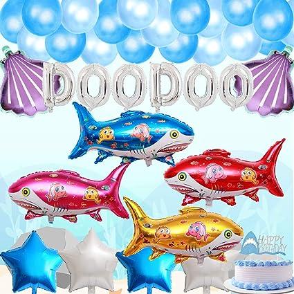 Amazon.com: Bebé tiburón cumpleaños decoraciones suministros ...