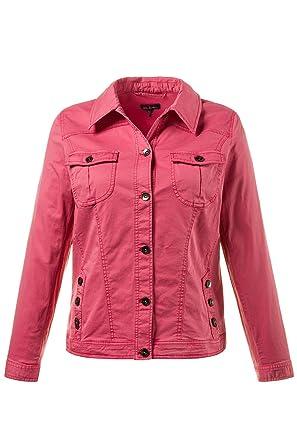 66785d00257 Ulla Popken Women s Plus Size Colored Trucker Jacket Hibiscus Pink 14  710271 53