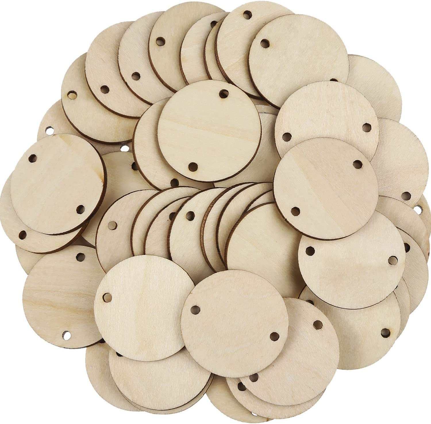 Bememo 100 Pieces Circle Wooden Tags Birthday Board Tags with 2 Holes for Birthday Board Chore Board DIY Crafts 1.5 Inches