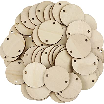 Bememo 100 Pieces Circle Wooden Tags Birthday Board Tags with 2 Holes for  Birthday Board Chore Board DIY Crafts, 1 5 Inches