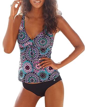 8abe07bac2 SUNNOW Femme Maillots De Bain Deux Pièces Shorty Halter Tankini Imprimé  Grande Taille Bikini Plage Maillots