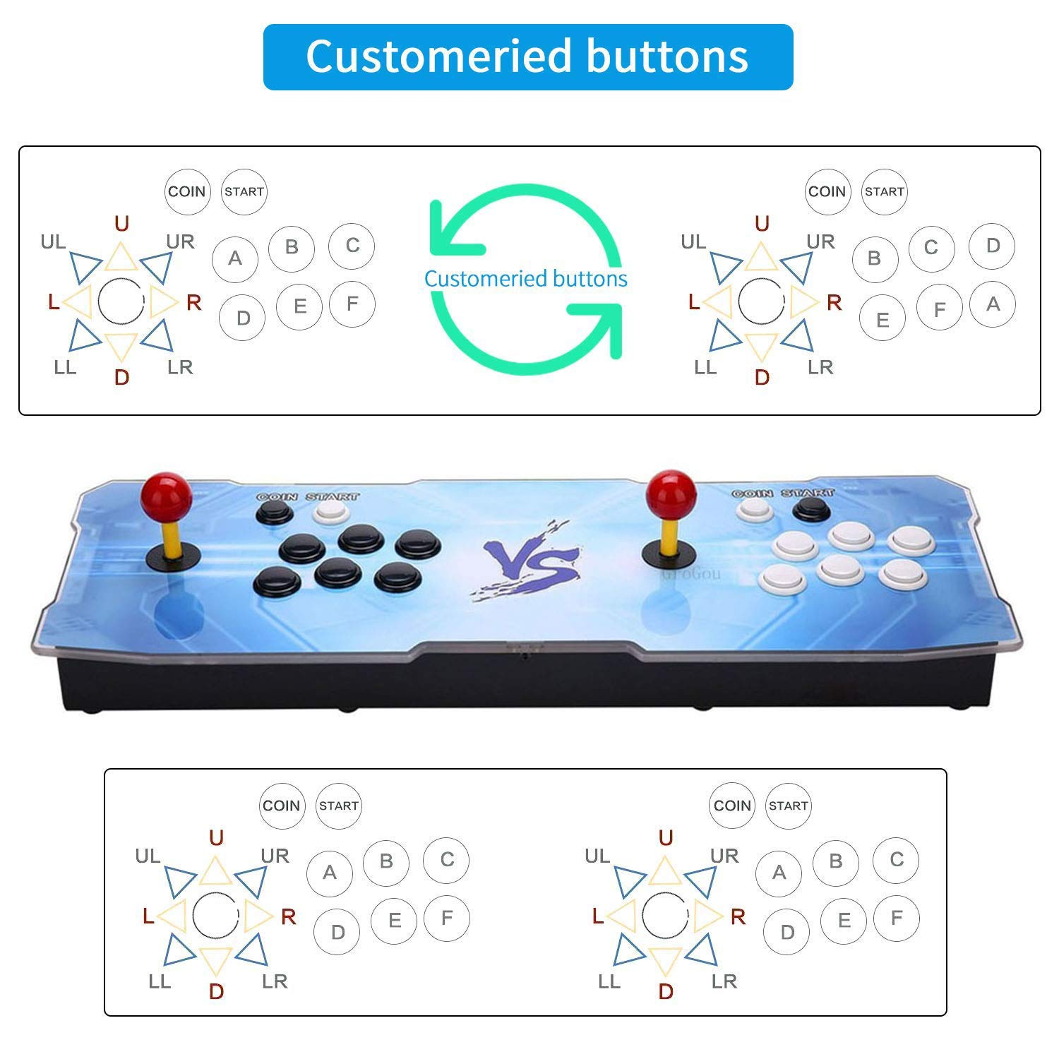 HAAMIIQII 3D Pandora Key 2363 Retro Arcade Game Console | Support 3D Games | Add More Games | Full HD (1920x1080) Video | 2 Player Game Controls | Support 4 Players | HDMI/VGA/USB/AUX Audio Output by HAAMIIQII (Image #2)