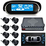 MASO Car Parking Sensor Dual-core Front and Rear View Reverse Radar System LCD Display Kit N8P4L Four Voice Switchable with 8 Black Sensor