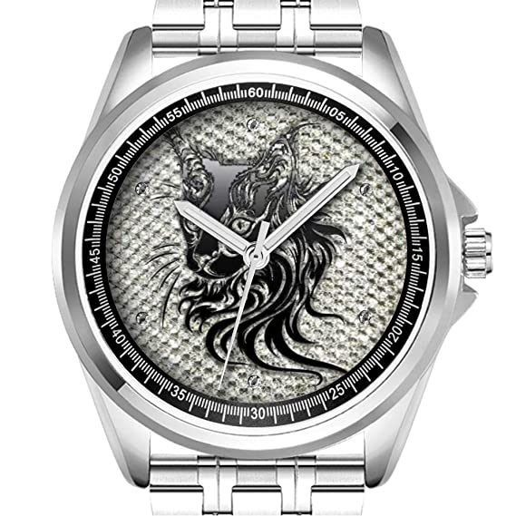Reloj de Pulsera Personalizado para Hombre, a la Moda, Resistente al Agua, Diamante_193, Color Negro metálico con diseño de Gato Sobre Fondo de Diamante: ...