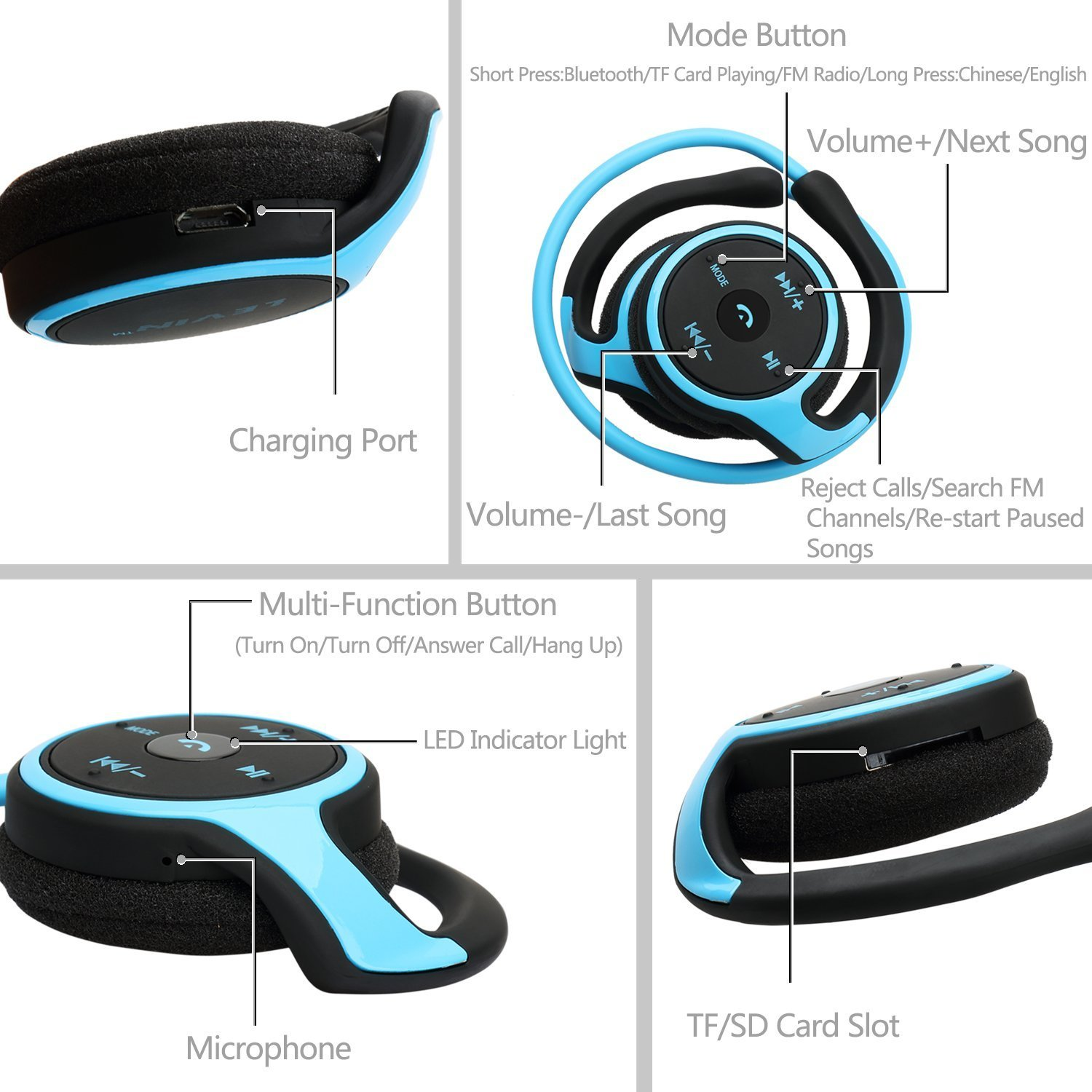 Bluetooth Stereo Headphones,Levin 3 In 1 Function Amazoncouk Electronics
