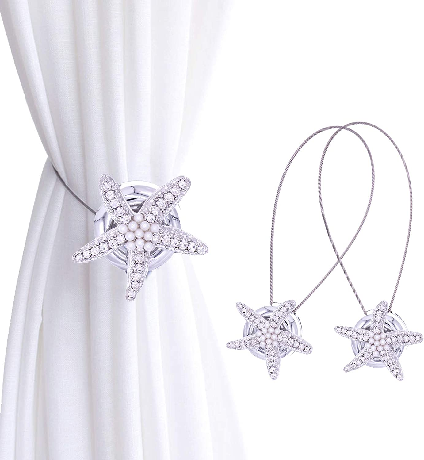 2 Pcs Star Curtain Tie-back Curtain Holdback Drape Clips Fastener Buckle