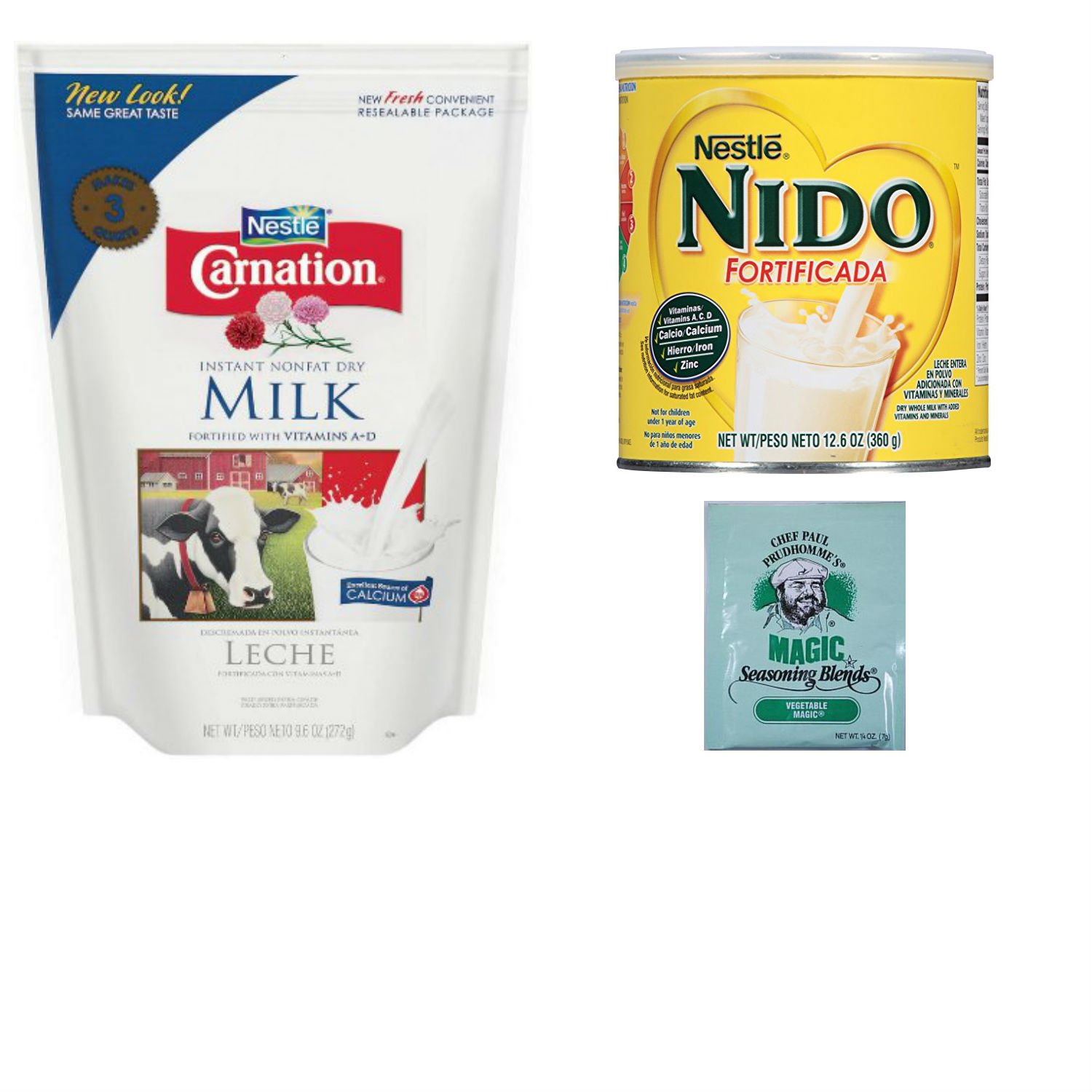 Amazon.com : Nestle Powdered Milk Variety Pack. Carnation Instant Nonfat Dry Milk and Nido Fortificada. One-Stop Shopping For 2 Popular Fortified Milk ...
