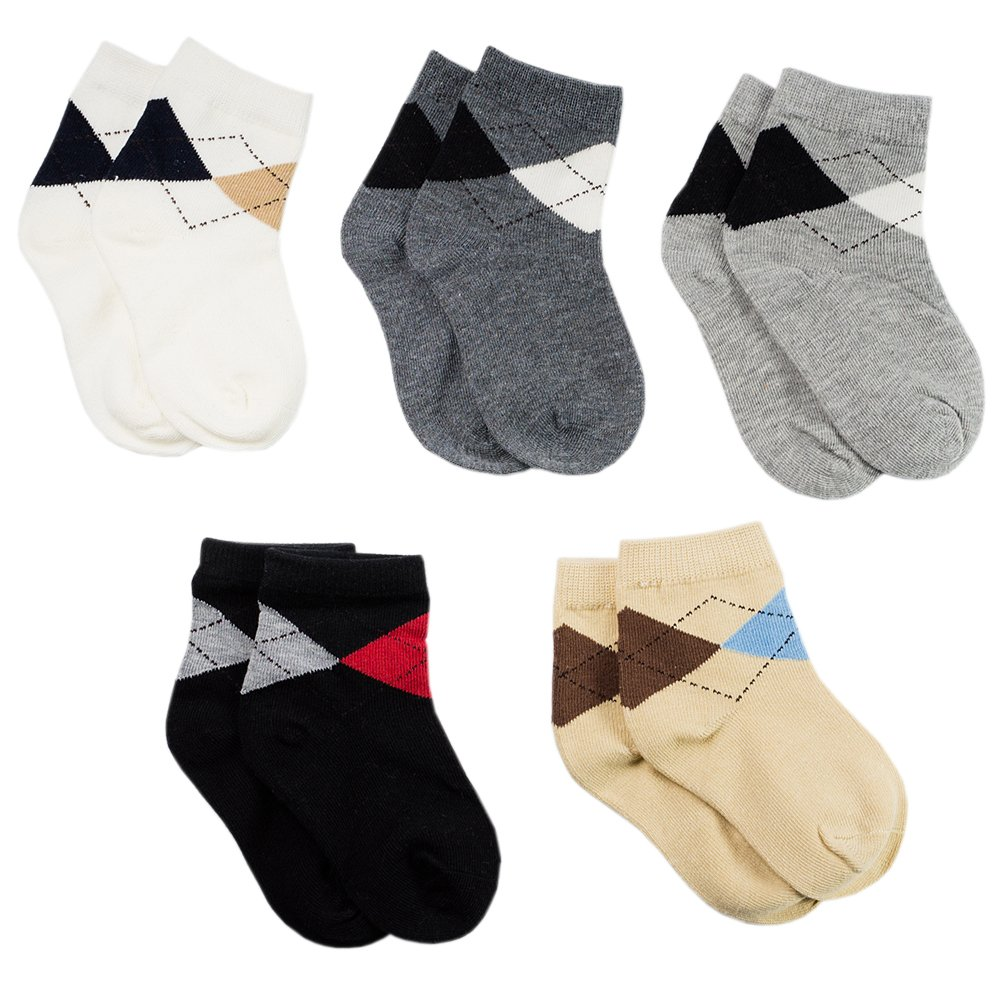 LALUNA BRIDE Kids Boys Cotton Dress Crew Socks 5 Pairs Value Pack Assorted Colors