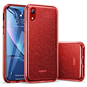 "ESR Makeup Glitter Case Compatible for iPhone XR Case, Glitter Sparkle Bling Case [Three Layer] for Women [Supports Wireless Charging] for The iPhone XR 6.1""(Released in 2018), Red"