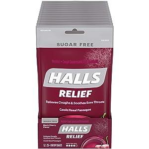 HALLS Relief Black Cherry Sugar Free Cough Drops, 12 Pack - 25 Drops