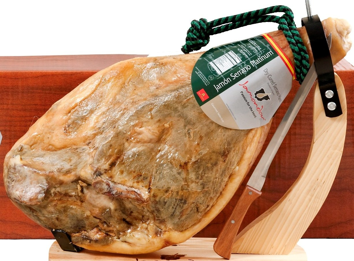Carmen & Lola Bone-in Jamon Serrano Ham Pack (15-17 Lbs. Ham+knife+ ...