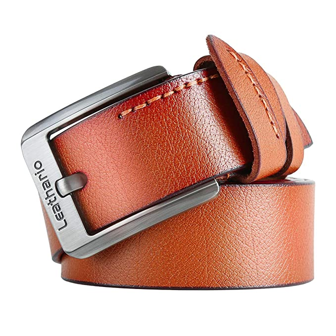 f442e27b299a8 Leathario Hombres Cinturón de Cuero Correa Cinturones de Piel Diseñado para  caballero  Amazon.es  Ropa y accesorios