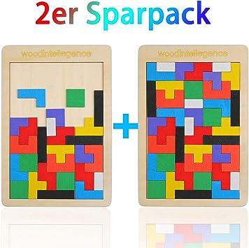 EKKONG 2 Piezas Tetris del Juguete Madera,Tetris de Madera para niños,Rompecabezas Educativo Montessori de Madera: Amazon.es: Juguetes y juegos