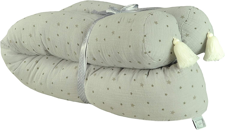 Serpent Lit Rouleau 20 cm pour lit 100/% coton Quilt style le berceau ou un lit Grey MoMika Lit Bumper Serpent