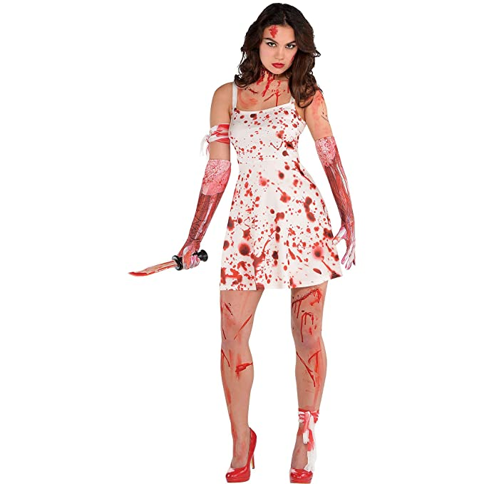 6ca39347f600a Amazon.com: AMSCAN Blood Splatter Dress Halloween Costume for Women, One  Size: Toys & Games