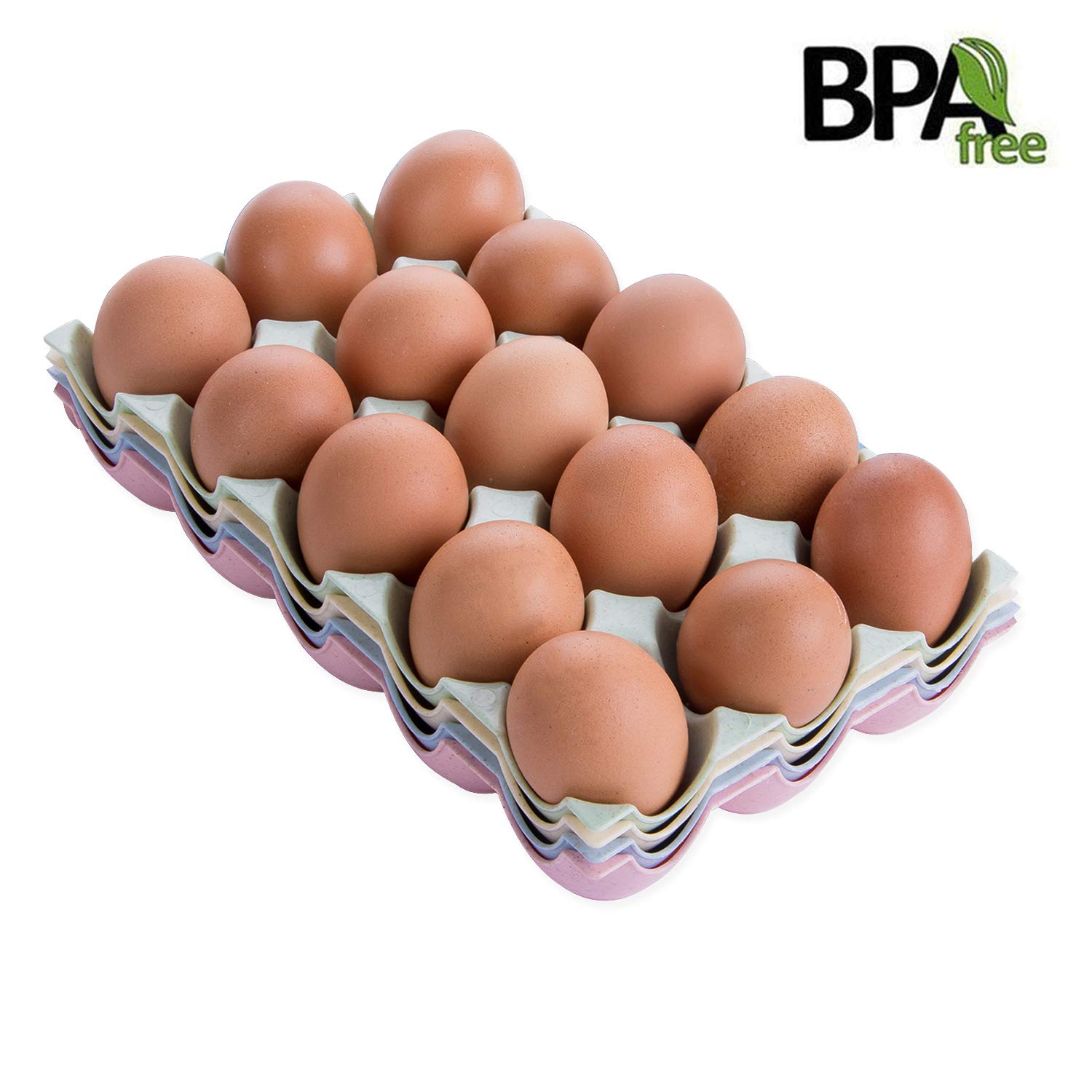 Egg Trays Holder,Eggs Dispenser for 15 Eggs Container,4 Pack Mixed Color