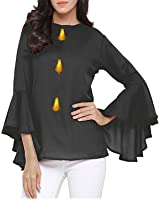 Ecolors Fab Rayon Tops For Women's Western Wear(Flute Sleeves)