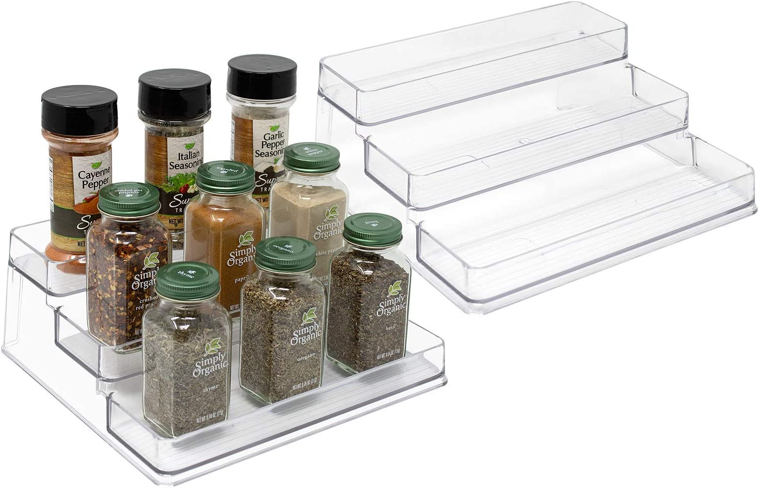 Sorbus 3-Tier Plastic Spice Rack Step Shelf Organizer for Kitchen Pantry, Cabinet, Countertops, Bathroom, Desk, Clear Plastic (2-Pack)