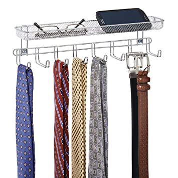 Pack of 2 Belts Watches mDesign Closet Wall Mount Accessory Organizer for Storage of Ties 8 Hooks//1 Basket Accessories Bronze Glasses