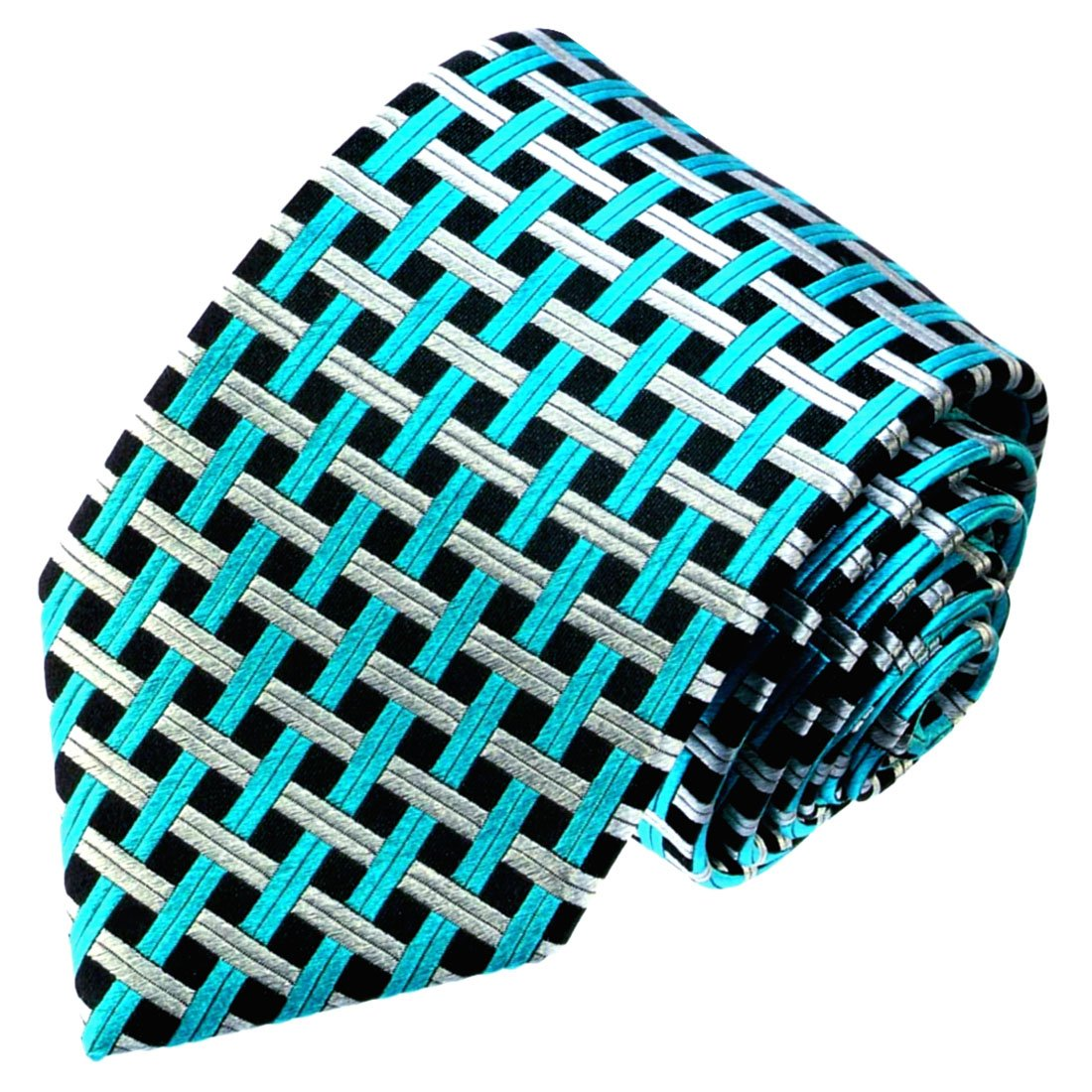 LORENZO CANA - Petrol Plata Turquesa Verde Negro Cuadros corbata ...