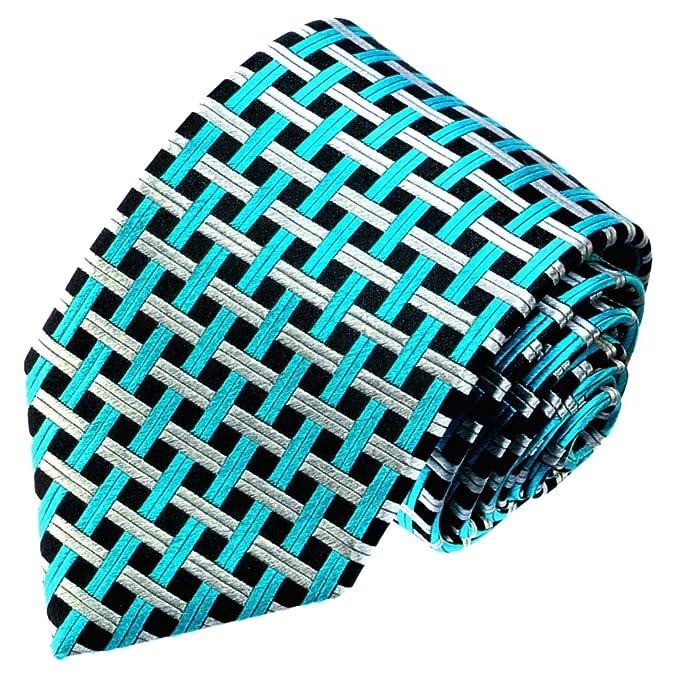 LORENZO CANA – Petrol Plata Turquesa Verde Negro Cuadros corbata ...