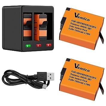 Vemico Reemplazo para GoPro Cargador Batería Hero 7/6/5 ...