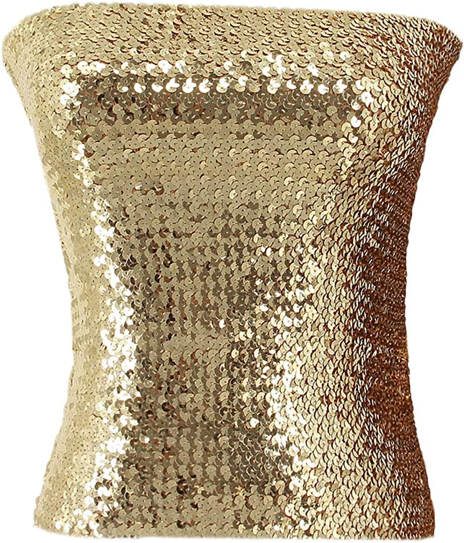 Mocure Women Sequin Tube Top Strapless Bandeau Crop Top for Rave Party Club