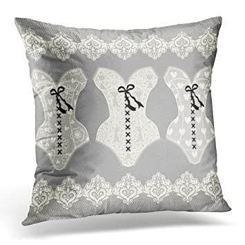 6ef5badd68 Duplins Throw Pillow Cover Beauty Sexy Collection of Vintage Lingerie Lace  Corset and Panties Women's Underwear