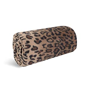 World's Best Cozy-Soft Microfleece Travel Blanket, 50 x 60 Inch, Leopard, Great for Travel or Lounging at Home