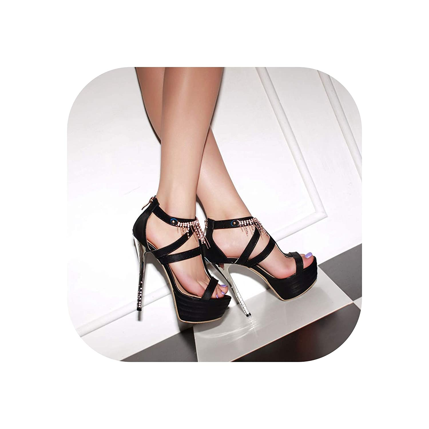 Black Stiletto Sandals Sexy Platform shoes Nightclub Party Dance shoes