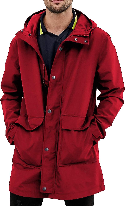Men Raincoat Hooded Windbreaker Long Coat Waterproof Working Outdoor Rain Jacket