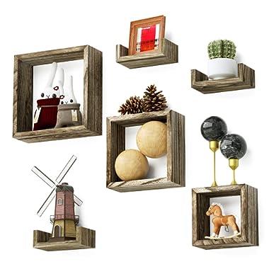Love-KANKEI Floating Shelves Rustic Wood Wall Shelves 3 Square Boxes 3 U Shelves Free Grouping Set of 6
