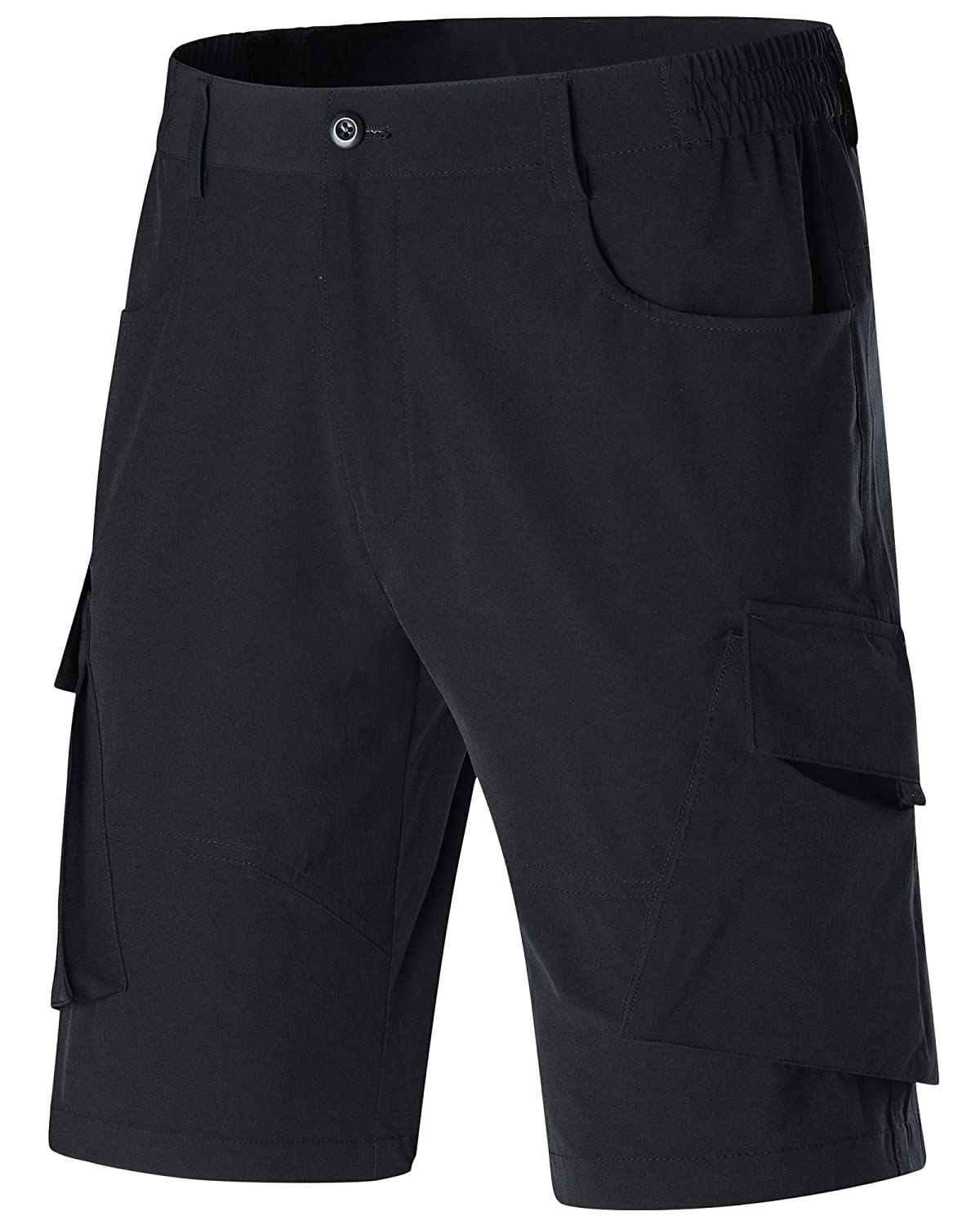 MAGCOMSEN Mens Hiking Shorts Elastic-Waist Lightweight Quick Dry Outdoor Cargo Shorts with 5 Pockets