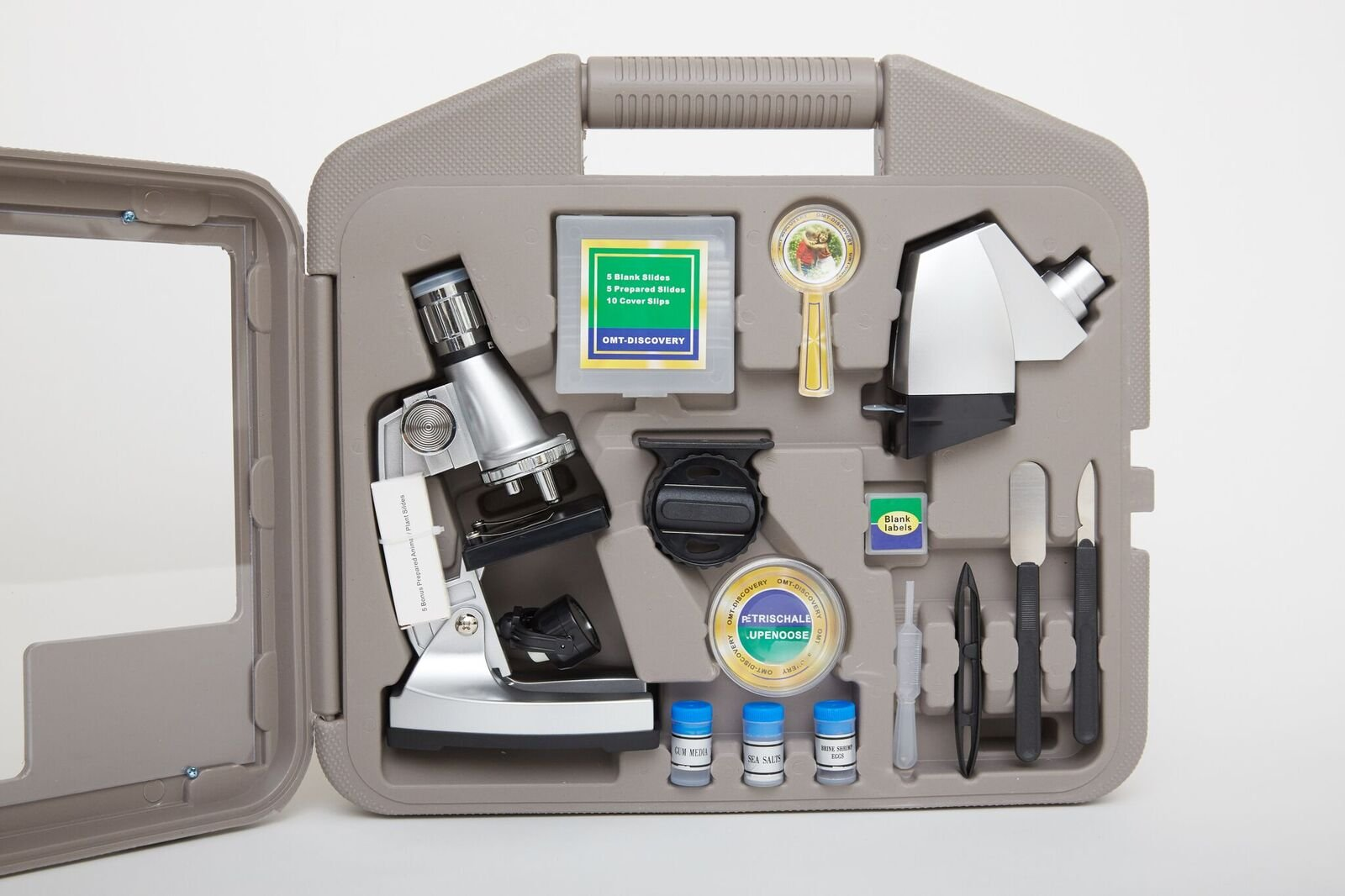 Microscope Kit with 6 Magnifications 50x to 1200x, Includes 37 - Piece Accessory, Smartphone Adapter, Handy Storage Case (5 Bonus Animal/Plant Sides) (37 - Piece Accessory Set + Smart Phone Adopter)