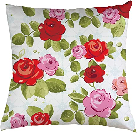 Amazon Com Flowers Drawing Throw Pillow Case Beautiful Rose Flowers Drawing Background For Home Decorative Throw Pillow Cover 20 X20 Home Kitchen