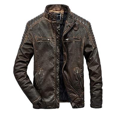 ODJOY-FAN Herren Leder Mantel Warm Lederjacke Langarm Jacke Herbst Winter  Outerwear Beiläufig Overcoat Tasche 2ddabf78a4
