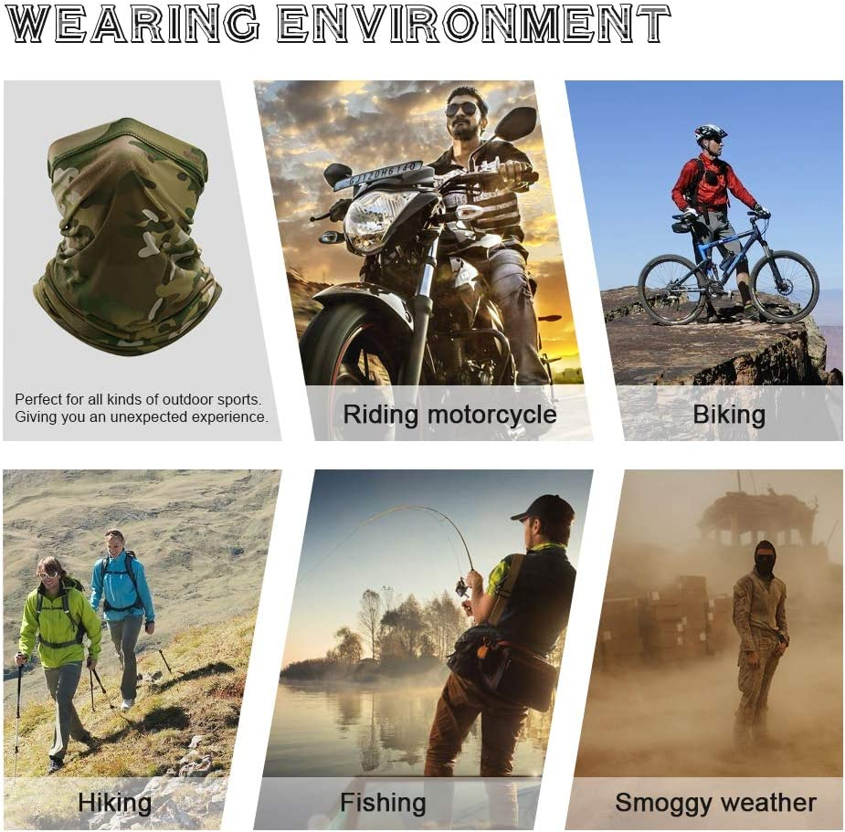 YOSUNPING Summer Sun UV Dust Protection Breathable Elastic Neck Gaiter Face Mask for Cycling