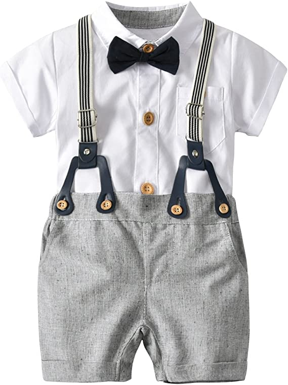 Fairy Baby Little Boys Short Sleeve Shirt and Suspender Shorts Set Gentle Outfits Clothing Sets