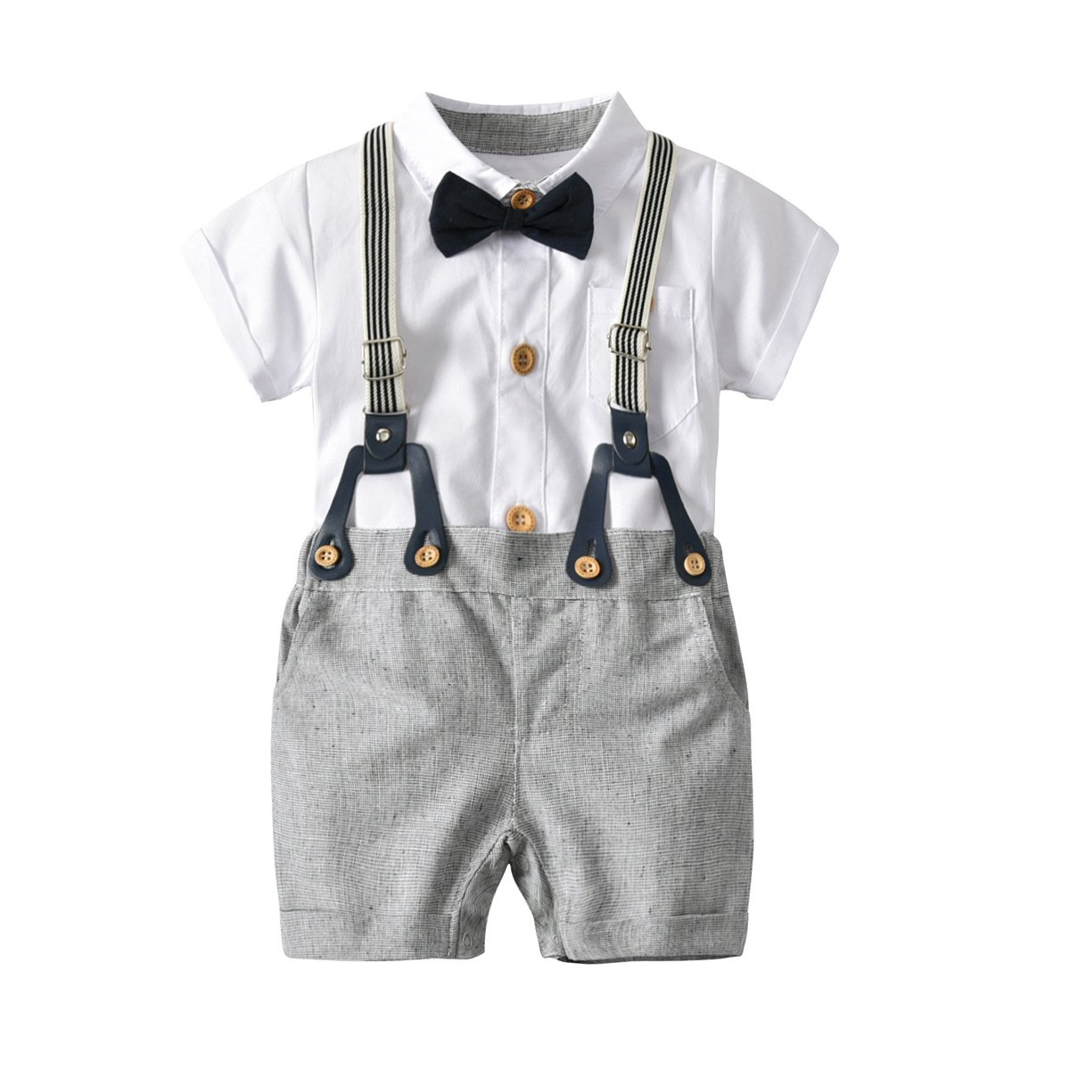 Fairy Baby Boys Short Gentle Outfits Suits, White Shirt+Bib Pants+Bow Tie Clothing Set