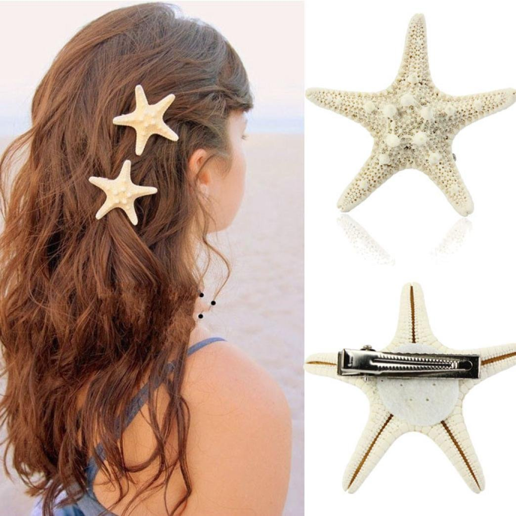 Alonea Hairdressing clips, Women Lady Girls Pretty Natural Starfish Star Beige Hair Clip – DIY Hair Styling (A❤️) by Alonea (Image #7)