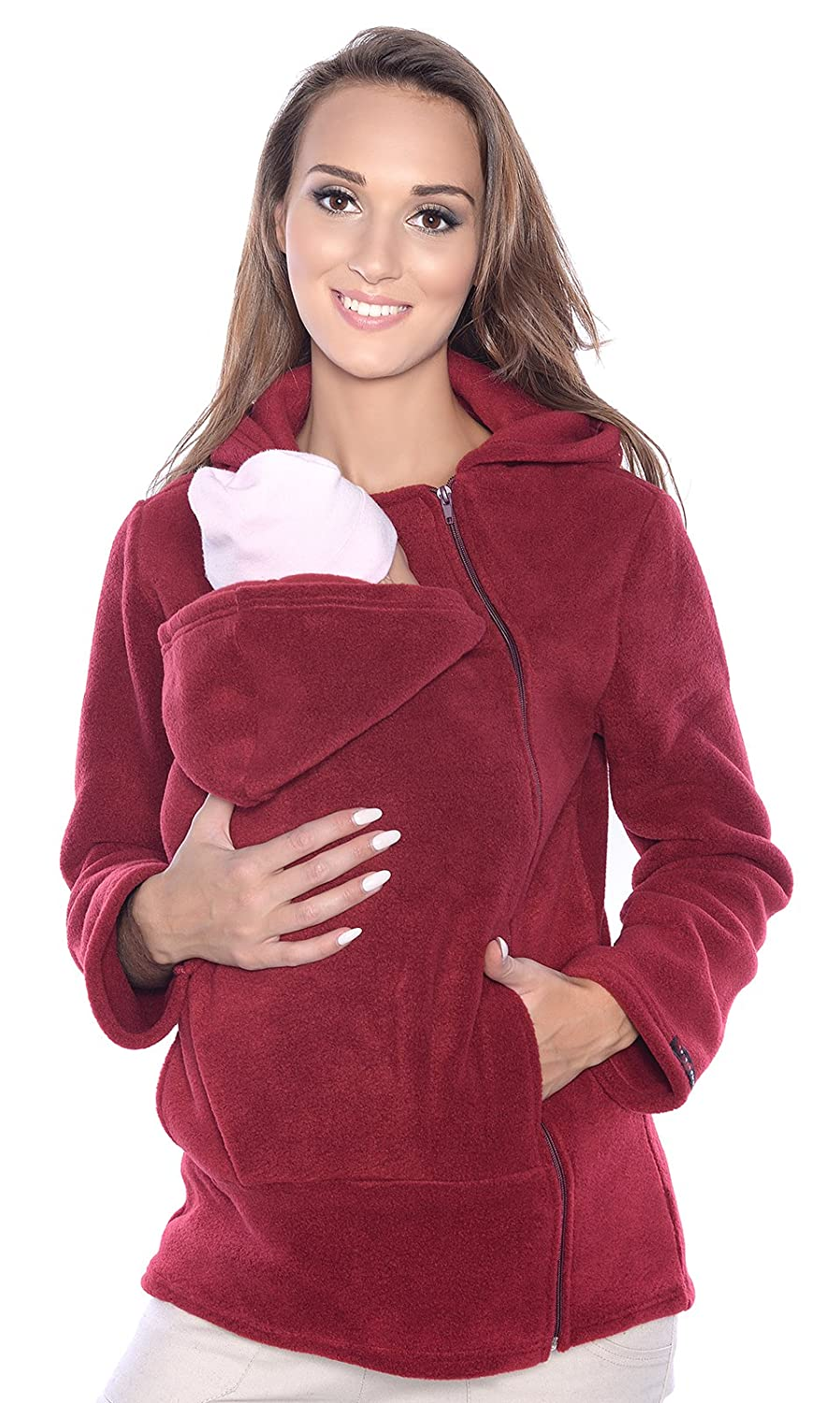 Maternity Polar warm fleece Hoodie / Pullover for two / for Baby Carriers (14, Navy) Mija Arts