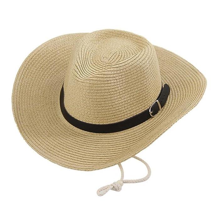 maxwordy Men s Western Cowboy Hat Ladies Tide Beach Hat Sunscreen ... f47421fd4149
