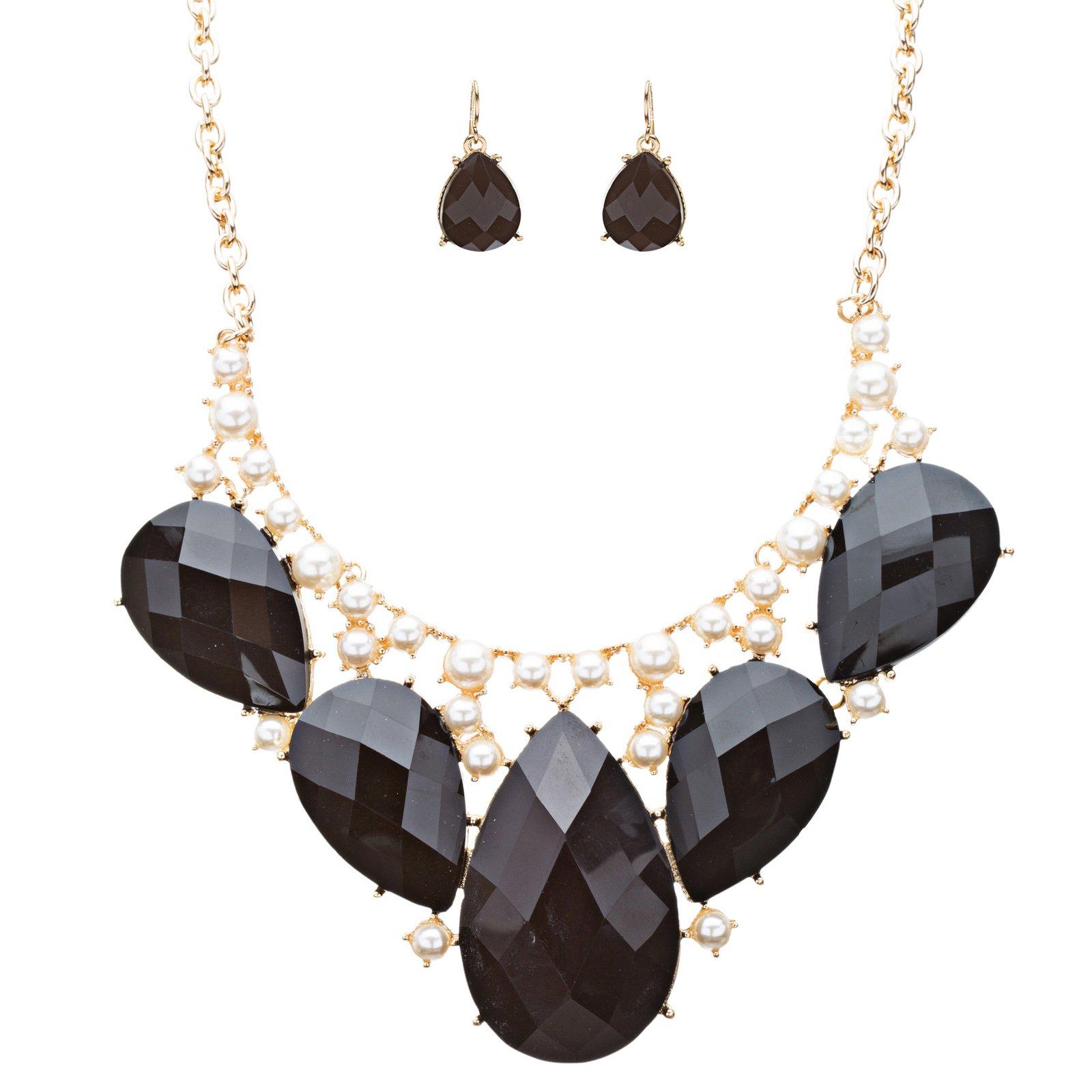 Accessoriesforever Modern Trendy Chic Bold Teardrop Design Statement Necklace Set JN174 Black