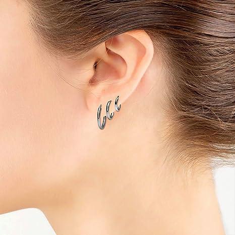 925 Sterling Silver Pair Plain Thin Endless Hoop Earrings 1.2mm Wide
