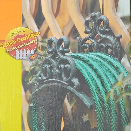 Sungmor Soporte para manguera de jardín de hierro fundido resistente, montaje en pared, colgador de manguera decorativo, decoración de jardín antiguo y patio: Amazon.es: Jardín