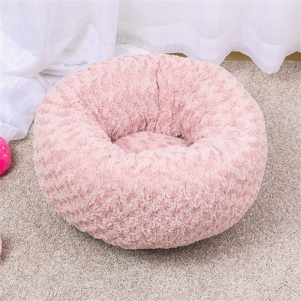Self-Warming and Improved Sleep Mosunx Dog Cat Calming Bed Pet Plush Bed Round Best Friend for Dogs and Cats Soft Donut Cushion Bed