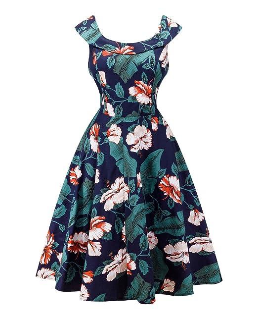YoungSoul Vestidos de fiesta vintage años 50 para mujer sin mangas retro pinup rockabilly vestido de