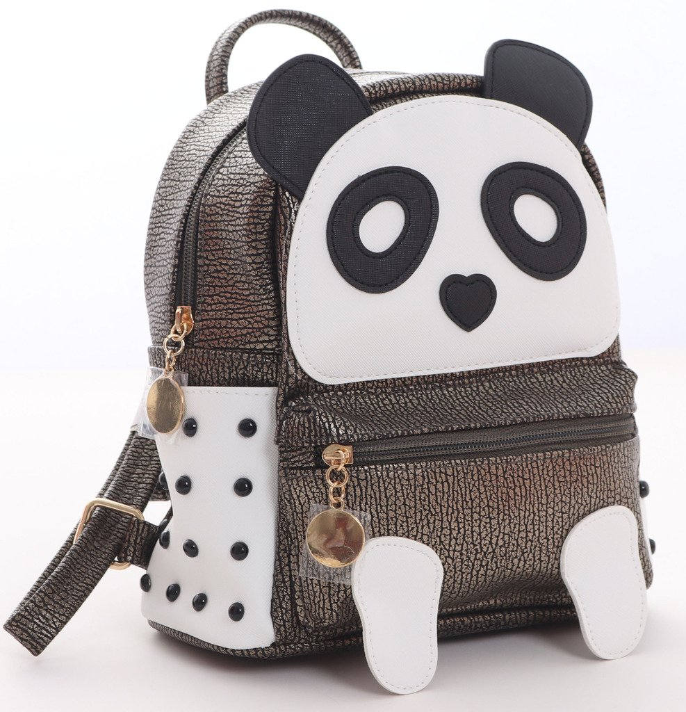 H&N Fashion PU Rivet Bronze Mini Casual Style Panda Backpack/ Shoulder/ Book Bag by H&N (Image #3)
