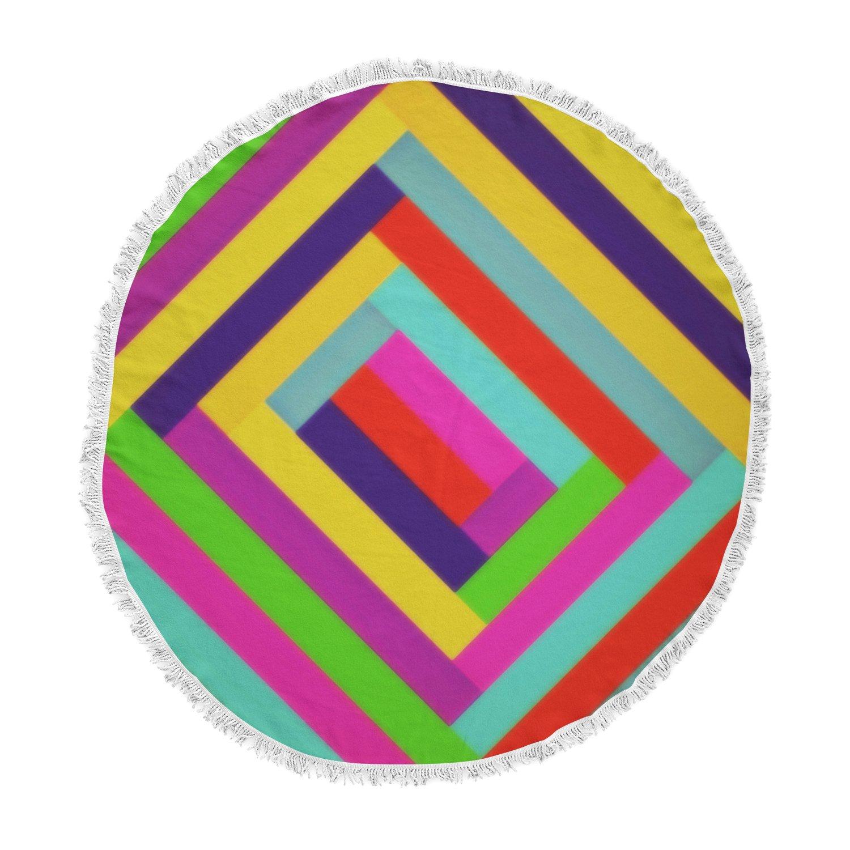 Kess InHouse Trebam Nakriv Rainbow Abstract Round Beach Towel Blanket